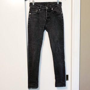 Dark Gray Acid Wash Button Down Skinny Jeans